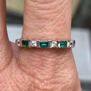 925 Sterling Silver Emerald Stacking Band Ring